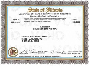 State of Illinois Department of Financial and Professional Regulation Licensed Home Inspector